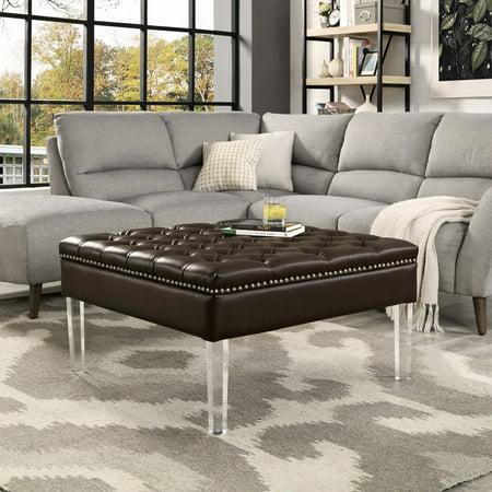 Enjoyable Inspired Home Kayla Square Faux Leather Coffee Table Ottoman Frankydiablos Diy Chair Ideas Frankydiabloscom