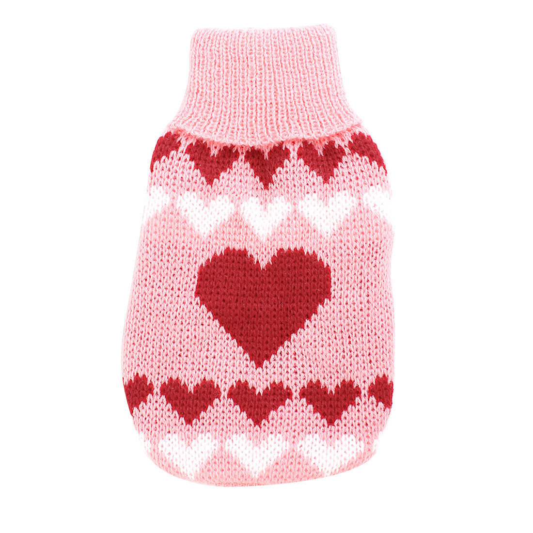 Unique Bargains Winter Turtleneck Heart Print Pet Dog Doggie Apparel Sweater Pink Red XXS