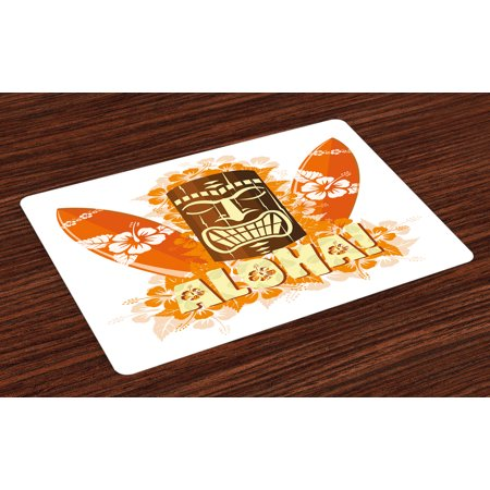 Tiki Bar Placemats Set of 4 Hibiscus Flora Burst Orange Surfboards Aloha Tropical Summer Season, Washable Fabric Place Mats for Dining Room Kitchen Table Decor,Orange Brown Pale Yellow, by - Tiki Surfboard