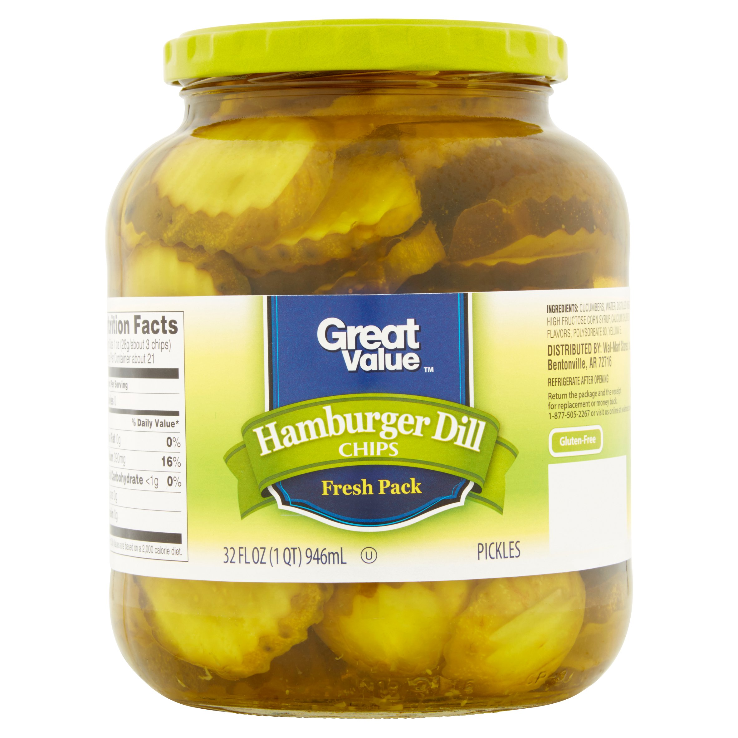 Great Value Hamburger Dill Chips Pickles, 32 fl oz by Wal-Mart Stores, Inc.