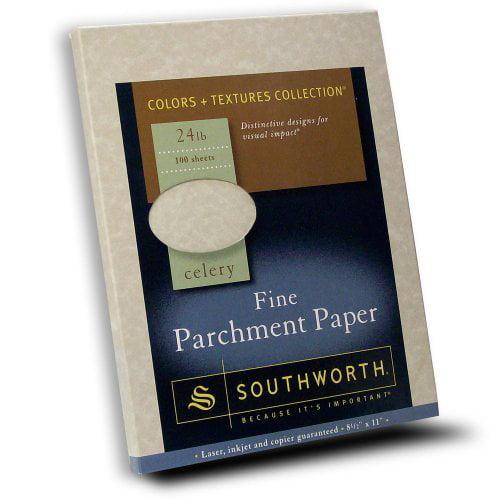 """Southworth Colors + Textures P874CK Parchment Paper - Letter - 8.40"""" x 11"""" - 24.00 lb - Parchment - 100 / Pack - Celery"""