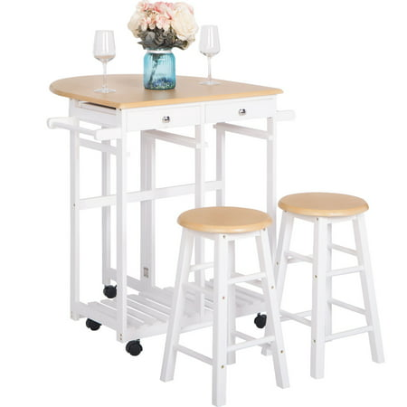Drop Leaf Breakfast Cart, Folding kitchen Island Cart with Bar Stools, Rolling kitchen Trolley Cart Set with 2 Storge Drawers and 2 Stools, Space Saving Wood Kitchen Breakfast Cart, I9894 ()