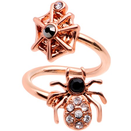 Body Candy 14G 316L Rose Gold PVD Steel Navel Ring Piercing Spider Spiral Twister Belly Button Ring ()