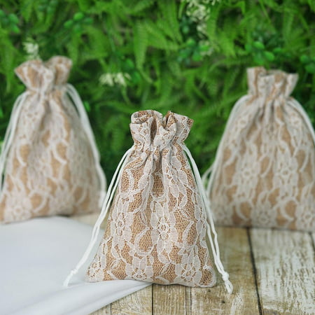 Balsacircle 10 Pcs Natural Brown Burlap Fl Lace Favor Bags With Pull String Wedding Party Favors Jewelry Pouch Candy Gift