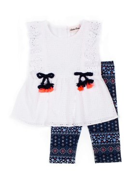 Little Lass Eyelet Ruffle Peplum Top and Printed Knit Legging, 2-Piece Outfit Set (Little Girls)