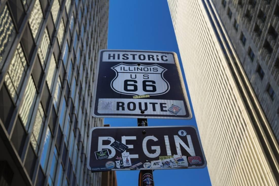 road sign at the start of route 66, chicago, illinois. print wall