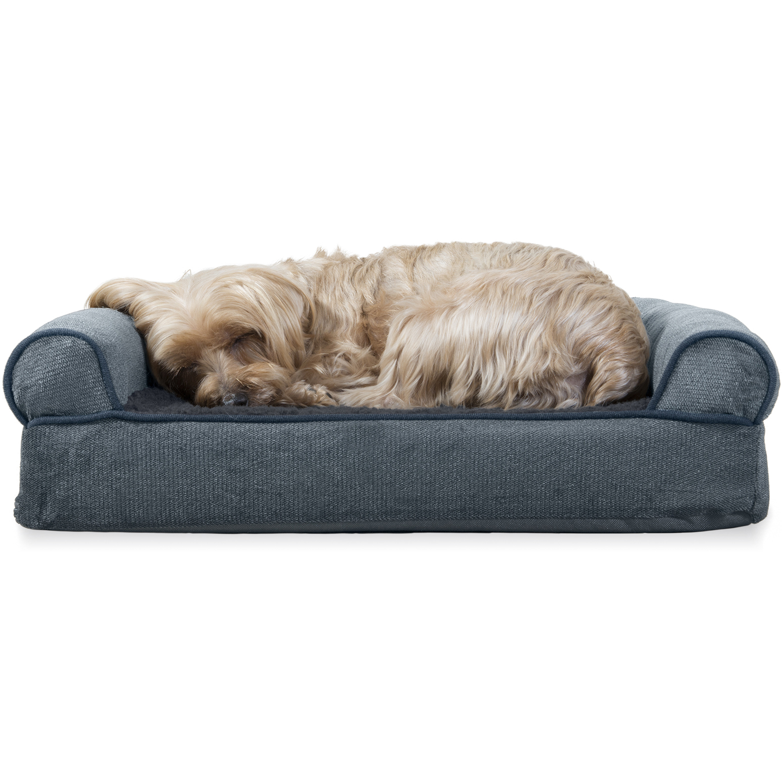 Furhaven Pet Dog Bed Orthopedic Faux Fleece Amp Chenille