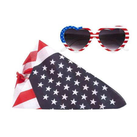 USA Patriotic Kit - Bandana and Heart Sunglasses