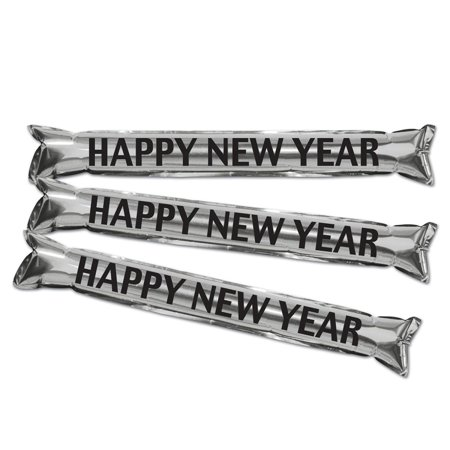 Club Pack of 25 Silver and Black New Year's Eve Inflatable