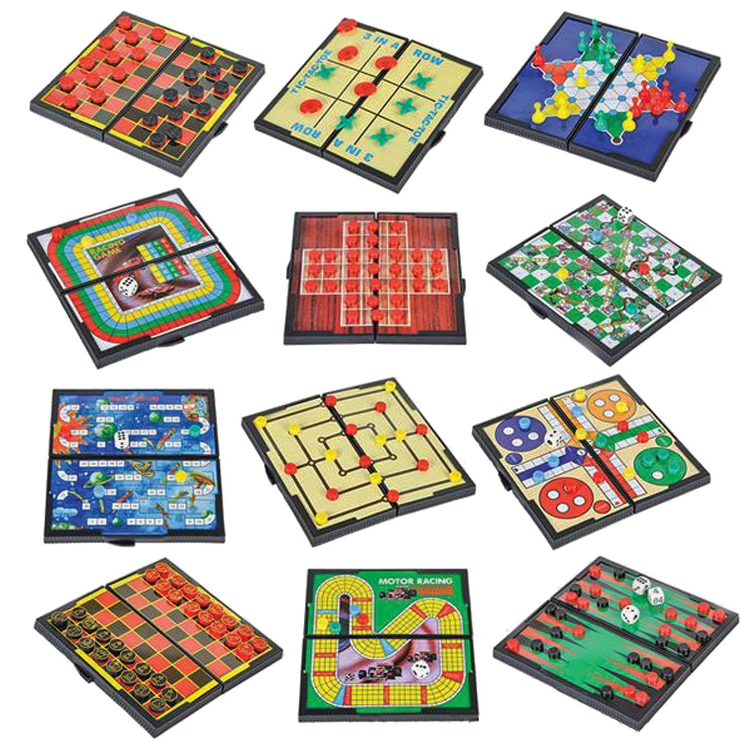 12 Magnetic Travel Board Games-Road Trip Entertainment, Checkers, Chess, Chinese Checkers, Tic Tac Toe,... by