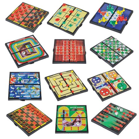 12 Magnetic Travel Board Games-Road Trip Entertainment, Checkers, Chess, Chinese Checkers, Tic Tac Toe, Backgammon, Snakes And Ladders, Solitaire, Nine Mens Morris, Auto Racing, Ludo, Space Venture (21 Chess Board)