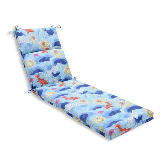 Indoor-Outdoor Lotus Lake Cobalt Chaise Lounge Cushion, Blue