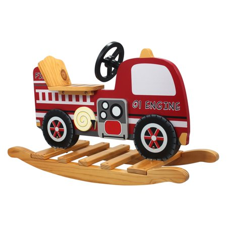 Teamson Kid's Trains and Trucks Fire Engine Rocker