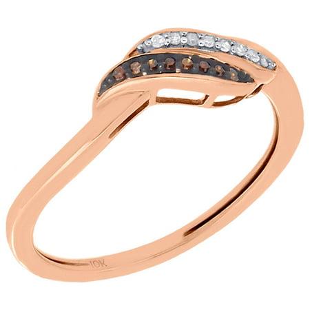 10K Rose Gold Red Diamond Ladies Swirl Fashion Ring Anniversary Band 0.05 Ct. Swirl Ladies Ring