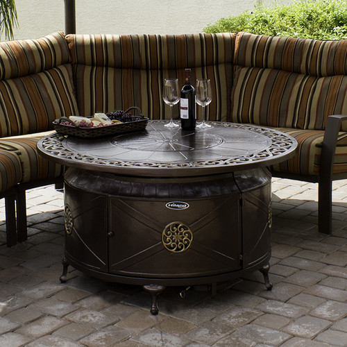 Hiland Round Cast Aluminum Decorative Fire Pit, Bronze