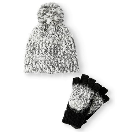 6736dcd9faf TIME AND TRU - Time and Tru Women s Cozy Marled Beanie and Poptop Gloves 2-Piece  Set - Walmart.com