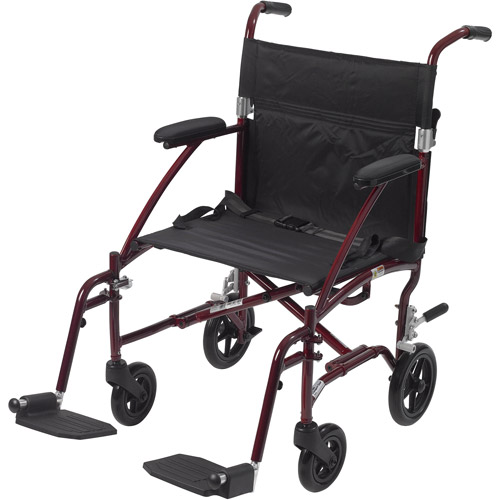 Drive Medical Fly Lite Ultra Lightweight Transport Wheelchair, Burgundy