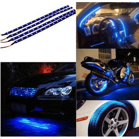 Yosoo 4-pack Flexible Strip Light Bar 30CM 15 LED High Power Waterproof for Car Motorcycle Boat Marine