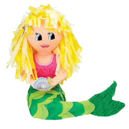 Wonder Woman Pinata (Mermaid Pinata, Pink & Green, 17in x)