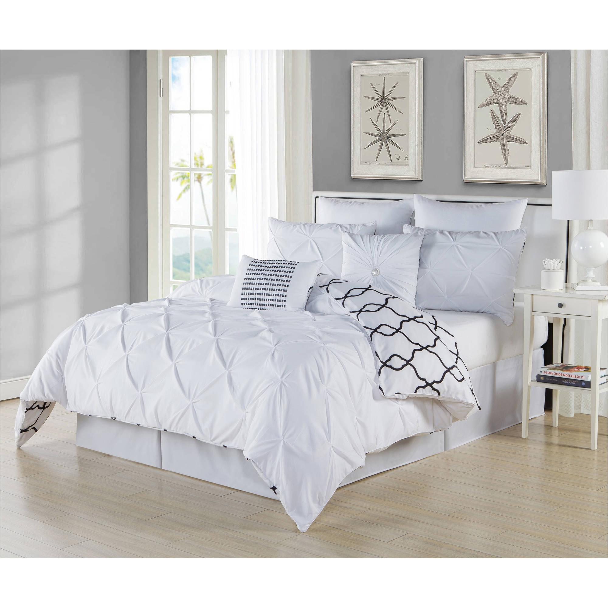 Esy Reversible 8 Piece King Comforter Set in White