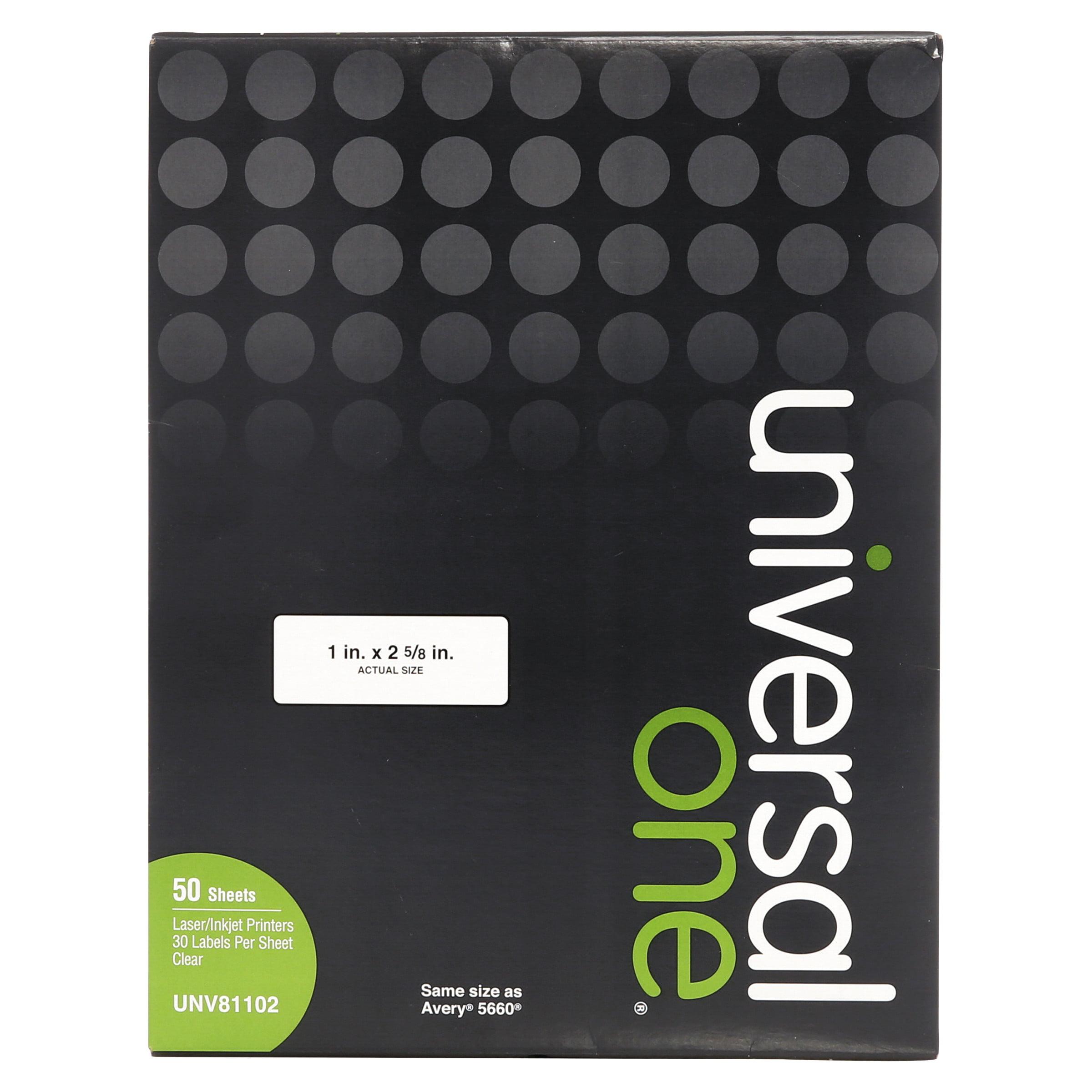 Universal Laser Printer Permanent Labels, 1 x 2-5/8, Clear, 1500/Box -UNV81102