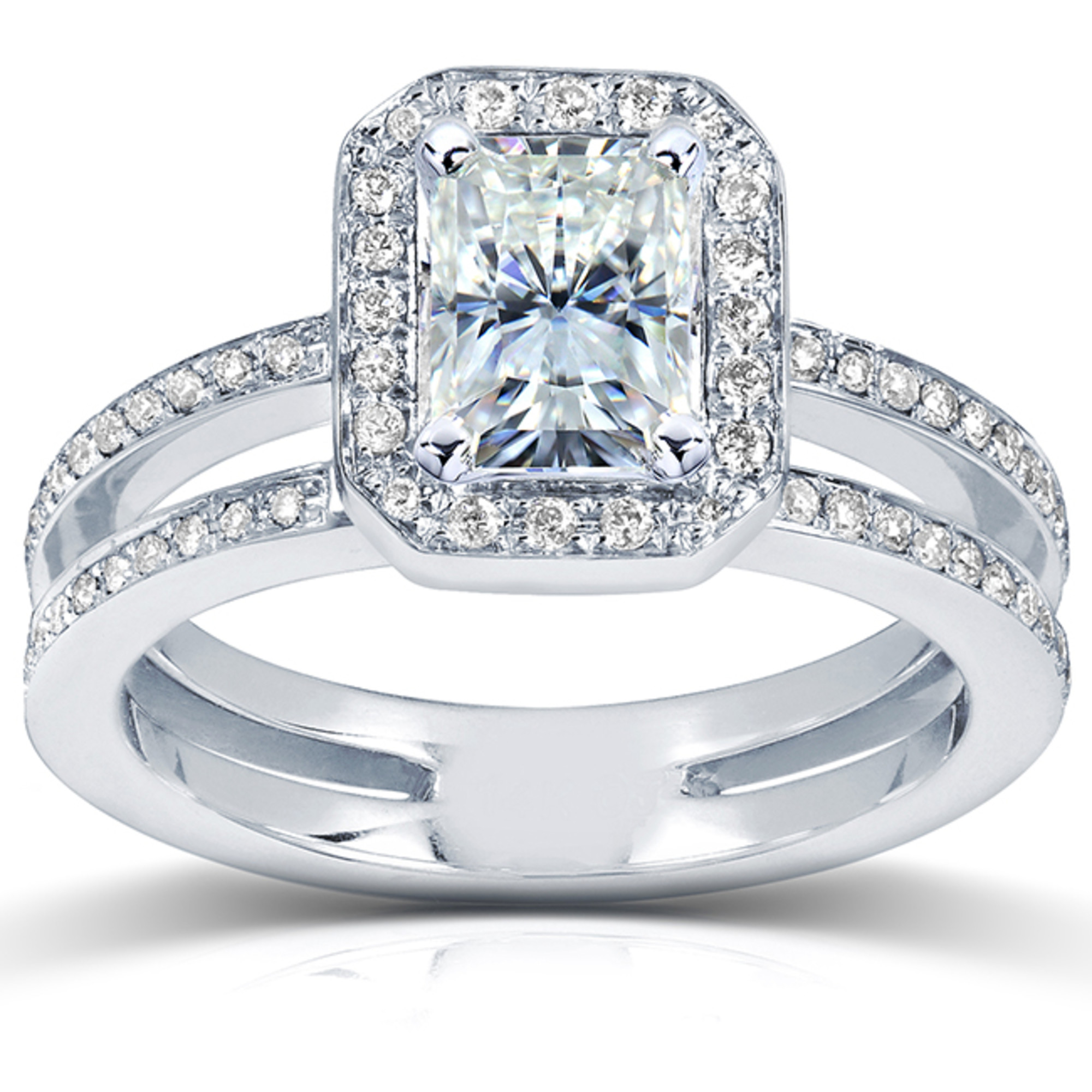 Radiant-cut Moissanite Engagement Ring with Halo Diamond 1 1/2 CTW 14k White Gold