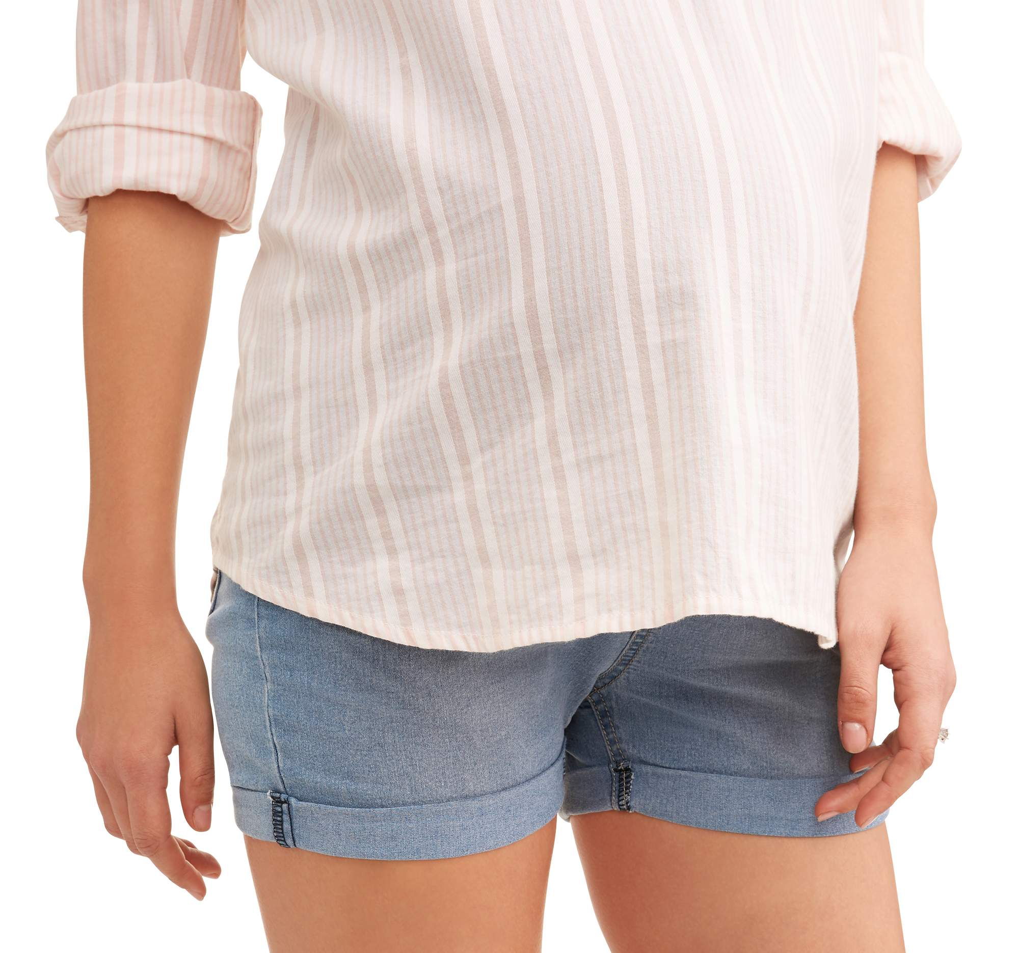Oh Mamma Maternity Full Panel Super Soft 5 Pocket Shorts -- Available in Plus Sizes by