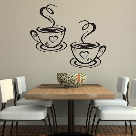 Outgeek Decorative Coffee Cup Stickers Wall Art Sticker Decals for Kitchen Dining Room Home Coffee Shop (Silver)](Berkeley Decals)