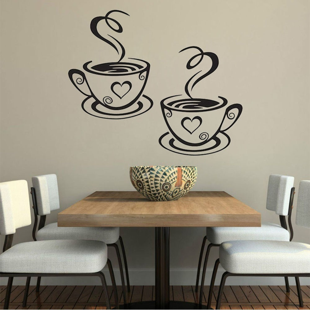 Outgeek Decorative Coffee Cup Stickers Wall Art Sticker Decals for Kitchen Dining Room Home Coffee Shop (Silver)