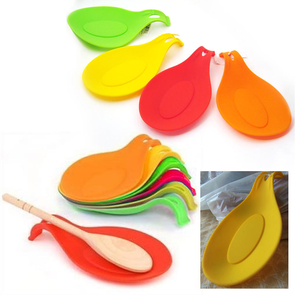 Kitchen Heat Resistant Silicone Spoon Rest Cooking Utensil Spatule Holder Tool