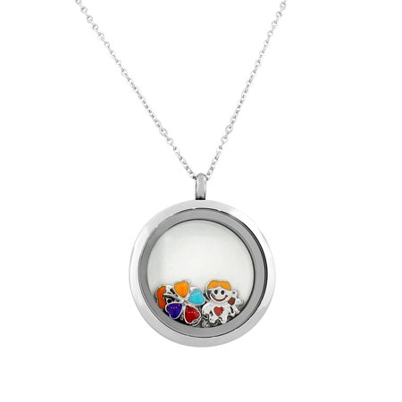 Stainless Steel Silver-Tone Floating Charms Kids Glass Locket Pendant (Float Kids Glasses)