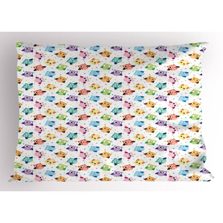 Owls Pillow Sham Cute Confused Funny Angry Sleeping Colorful Characters Dots Humorous Doodle ...