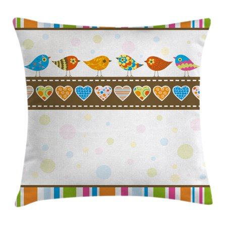 Valentines Day Decor Throw Pillow Cushion Cover, Cute Chubby Birds with Colored Hearts and Stripes Abstract Dots Image, Decorative Square Accent Pillow Case, 18 X 18 Inches, Multicolor, by Ambesonne