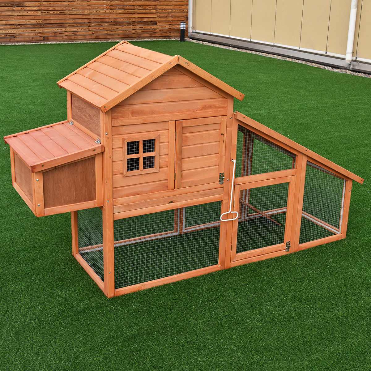 Bon Costway 75u0027u0027 Large Deluxe Wooden Chicken Coop Backyard Nest Box Hen House  Hutch W