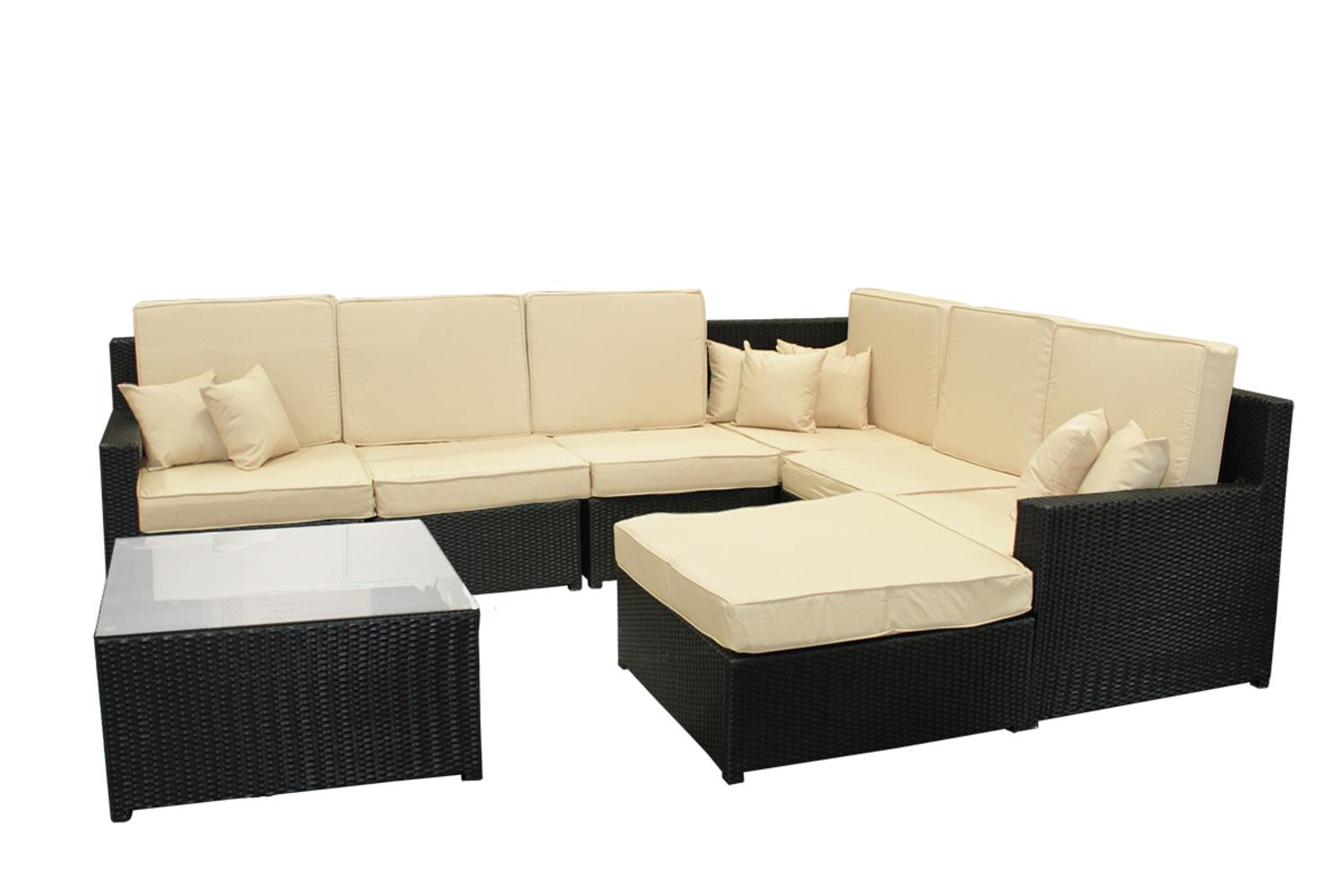 8 Piece Black Resin Wicker Outdoor Furniture Sectional Sofa Table