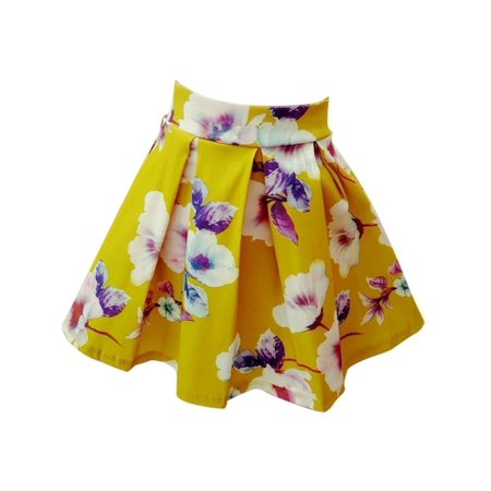 Girls Green Floral Print Pleated Flared Skirt