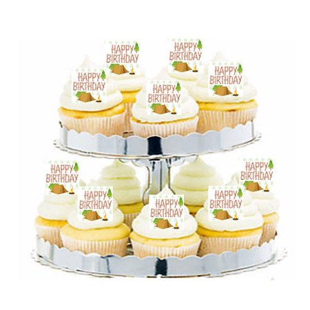 24pk Camping Happy Birthday Edible Cupcake  Decoration Toppers / Picks (Happy Birthday Cupcake)