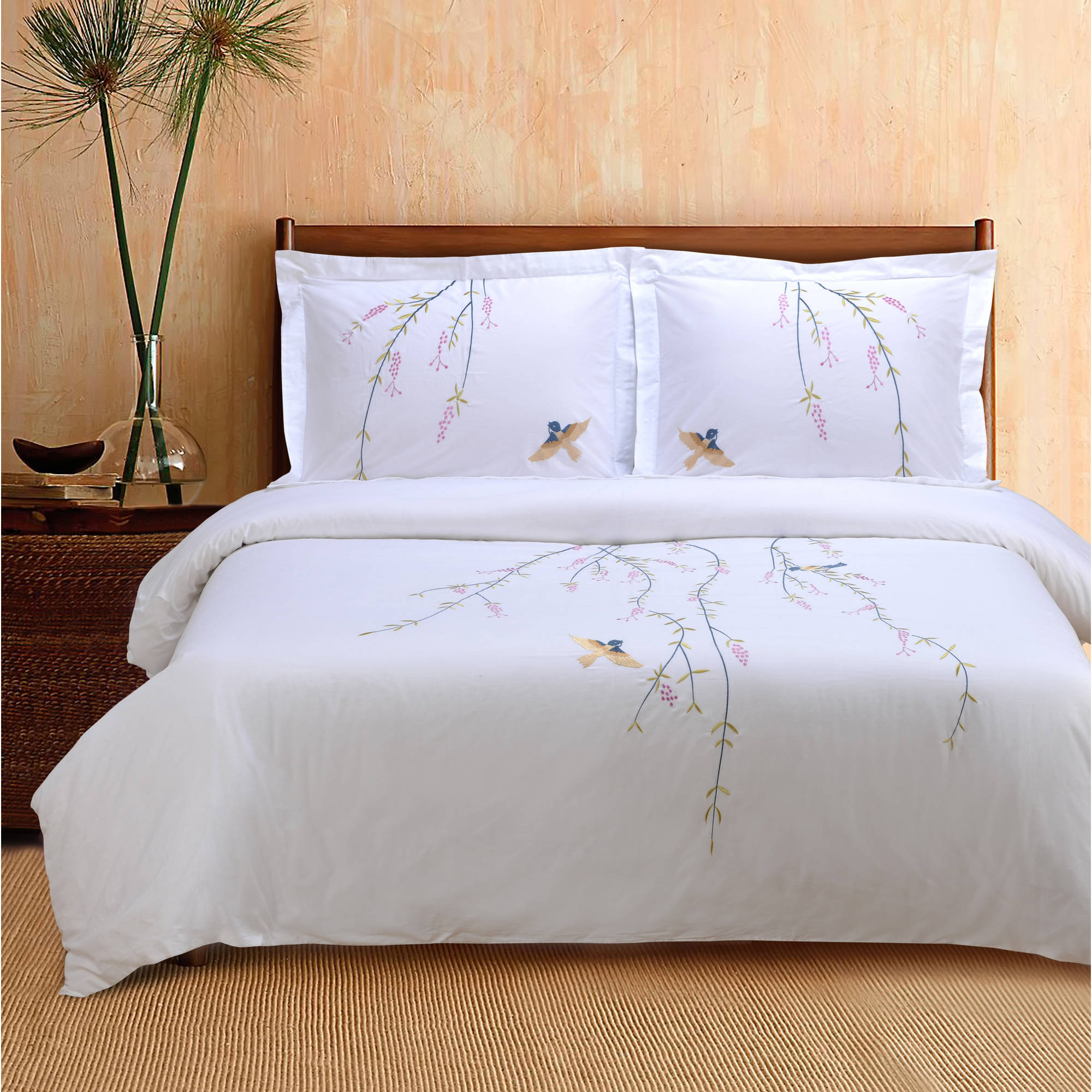 Superior Spring Premium Cotton Percale Embroidered 3-Piece Duvet Cover Set