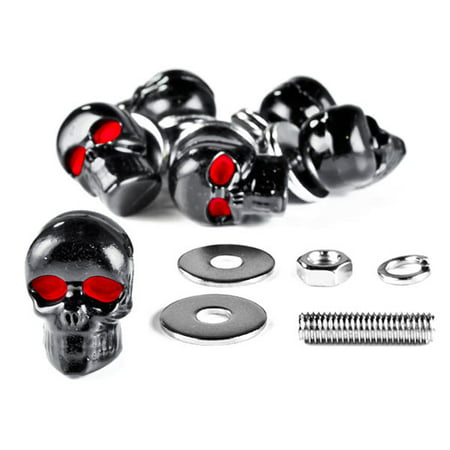 Krator Custom Black Skeleton Skull Bolt Nuts Screws 6mm For Harley Davidson Softail Cross Bones Deuce Rocker
