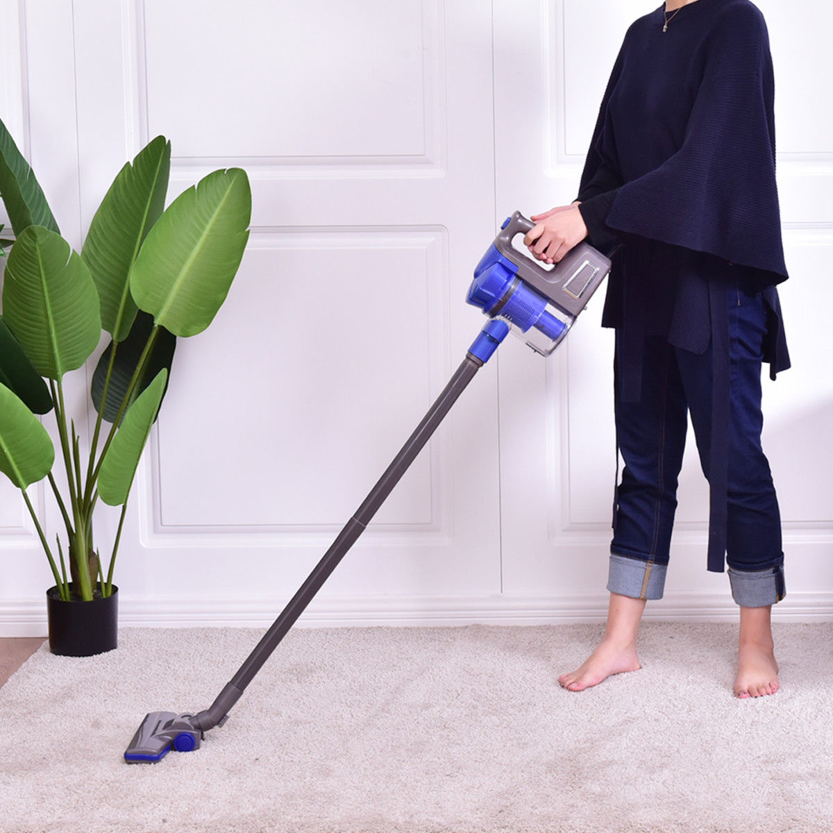 Costway Portable Lightweight Vacuum Cleaner Bagless Carpet Hard Floor w Washable Filter