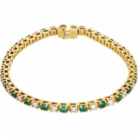 14kt Yellow Emerald & 2 3/8 CTW Diamond Bracelet 62078 / 14Kt Yellow / Emerald And 2 3/8 Ctw Diamond Bracelet
