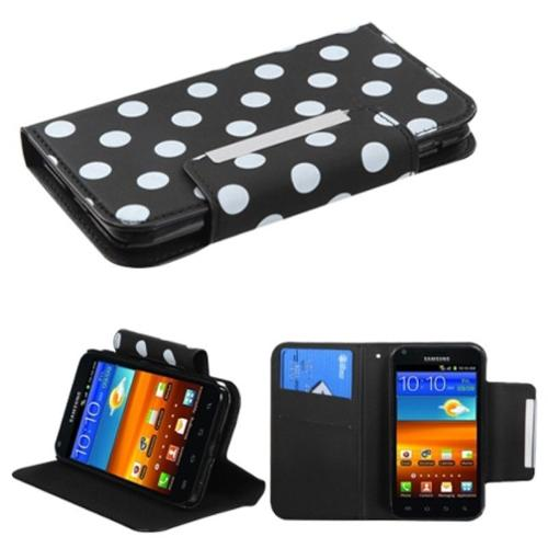 Insten White Polka Dots /Black Frosted MyJacket Wallet Case For SAMSUNG Epic 4G Touch D710