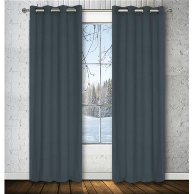 LJ Home Fashions OO313 Karma Faux-Cotton Window Panel Set in Nickel grey - set of 2
