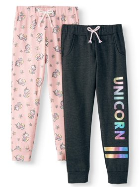 Love Republic Unicorn Rainbow Fleece Jogger, 2-Pack (Little Girls & Big Girls)
