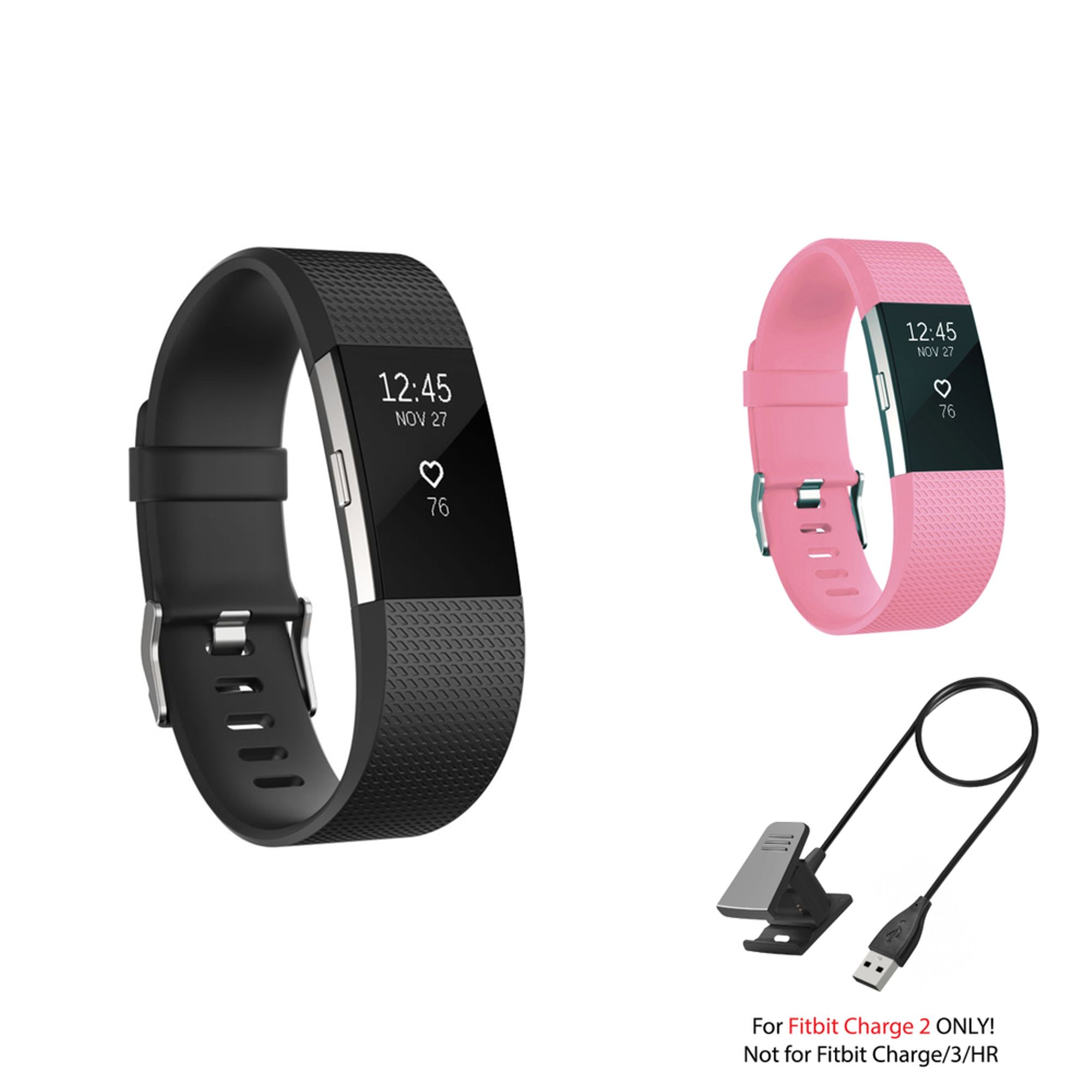 Fitbit Charge 2 Bands and Fitbit Charge 2 Charger by Zodaca 2 pack (Black & Light Pink) Replacement Bands Rubber Wristband Fashion Sport Strap with Buckle and USB Charging Cable for Fitbit Charge 2