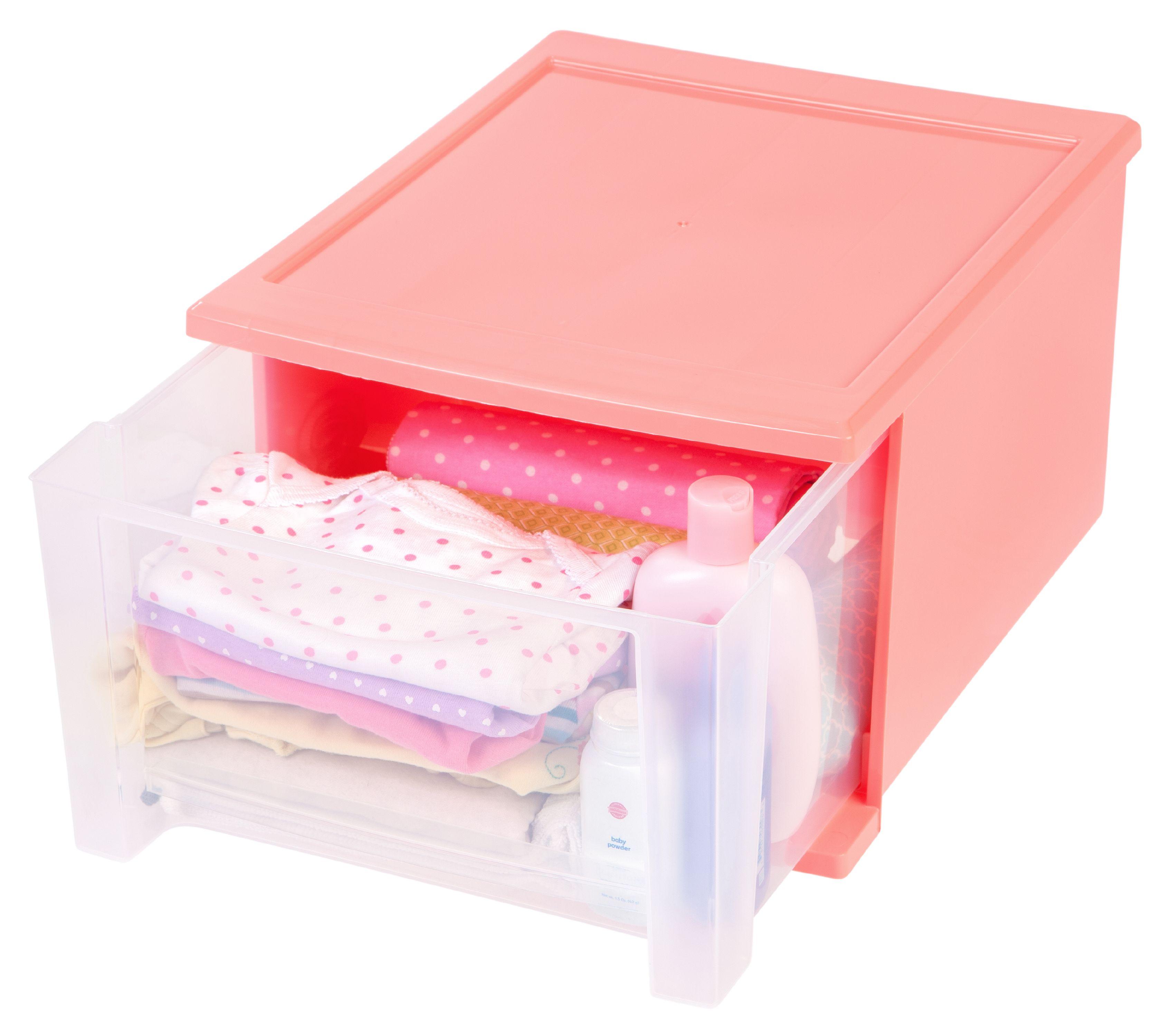 4 Pack Pink IRIS 17 Quart Stacking Drawer