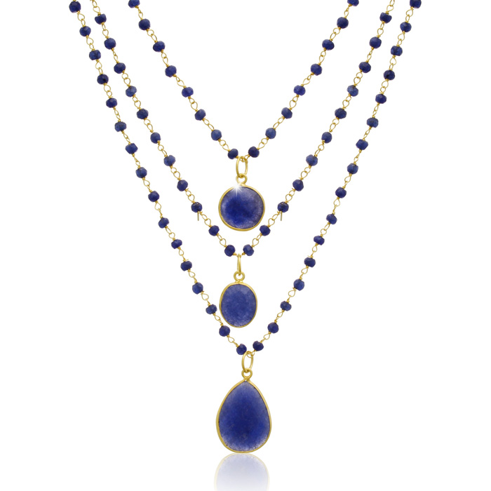 93 Carat Sapphire Triple Strand Beaded Necklace In 14K Yellow Gold, 26 Inches by SuperJeweler