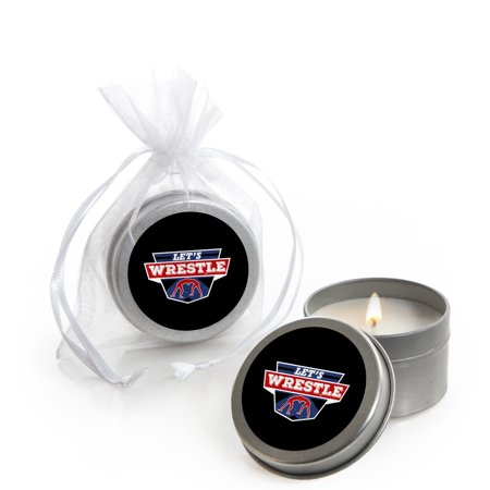 Own The Mat - Wrestling - Candle Tin Birthday Party or Wrestler Party Favors - Set of 12