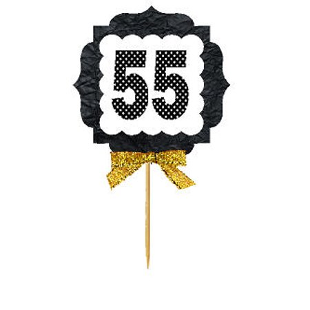 55th Birthday / Anniversary Gold Ribbon Hand Crafted Novelty Cupcake Decoration Toppers / Picks -12ct](55th Birthday)