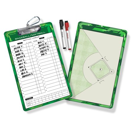 GoSports Coaches Baseball Board 2 Sided Dry Erase w/ Batting Lineup and Full Field, Includes 2 Dry-Erase Markers